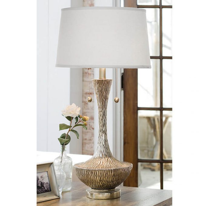 Embossed Silver Vessel Table Lamp