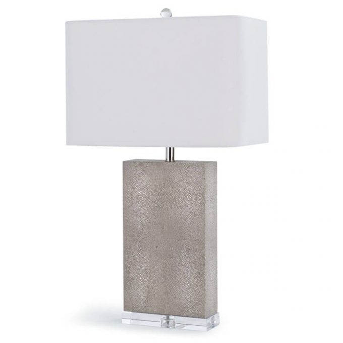 Marcel Ivory Grey Shagreen Column Table Lamp