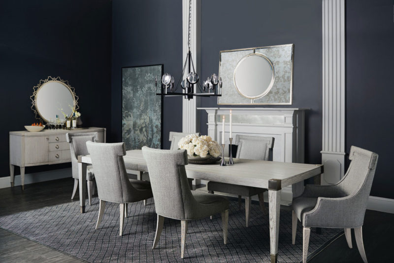 Domaine Blanc Dining Table and 6 Side Chairs