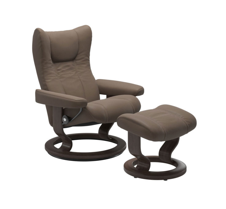 Wing Recliner Chair with Ottoman